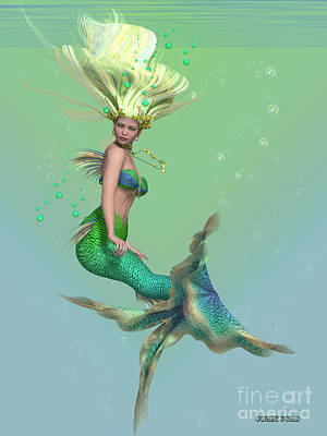 Enchanter Digital Art - Mermaid In Green by Corey Ford
