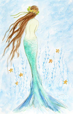 Sandpiper Drawing - Mermaid In Her Garden by Tina Obrien