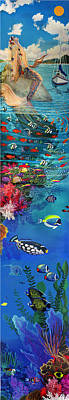 Triggerfish Painting - Mermaid In Paradise Complete Underwater Descent by Bonnie Siracusa