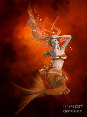 Enchanter Digital Art - Mermaid In Red by Corey Ford