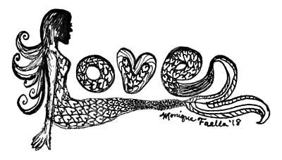 Drawing - Mermaid Love by Monique Faella