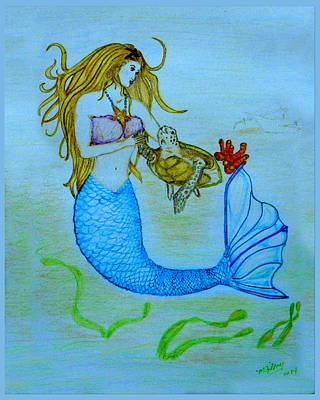 Surfing Art Drawing - Mermaid by M Gilroy
