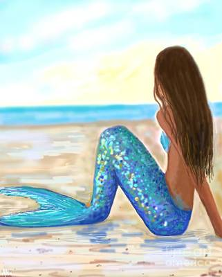 Painting - Mermaid Magic Beach by Leslie Allen