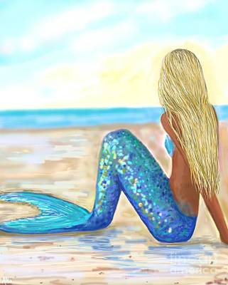 Painting - Mermaid Magical Beach by Leslie Allen