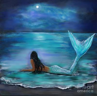 Mermaid Painting - Mermaid Moon And Stars by Leslie Allen