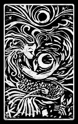 Linoleum Mixed Media - Mermaid Moon by Katherine Nutt