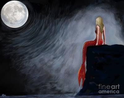 Painting - Mermaid Moon Magic by Leslie Allen