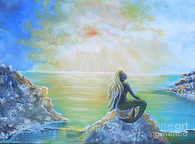 Painting - Mermaid On-the-rocks by Jean Clarke