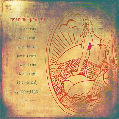 Mermaid Prayer Art Print by Brandi Fitzgerald