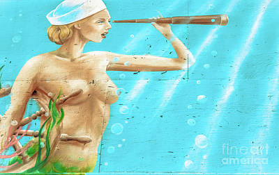 Photograph - Mermaid Sailor - Graffiti by Colleen Kammerer