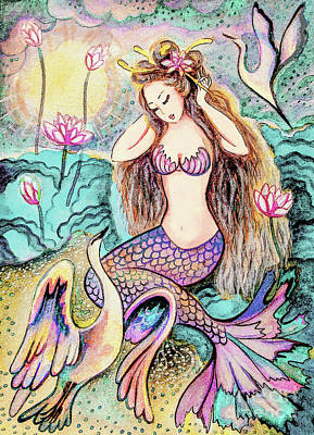 Painting - Mermaid Sunrise by Eva Campbell