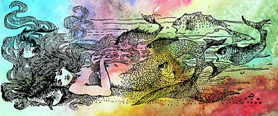 Digital Art - Mermaid Under The Sea-b by Jean Plout