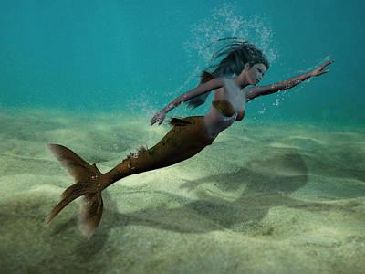 Digital Art - Mermaid Underwater by Solomon Barroa