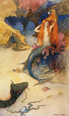 Mermaid Art Print by Warwick Goble