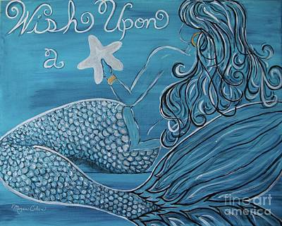 Sea Wall Art - Painting - Mermaid- Wish Upon A Starfish by Megan Cohen