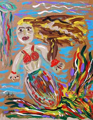 Mary Carol Art Drawing - Mermaid With A Fantastic Fin by Mary Carol Williams