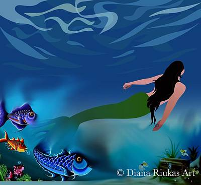 Digital Art - Mermaid With Fish by Diana Riukas