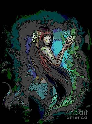 Digital Art - Mermaid With Shell by Valarie Pacheco