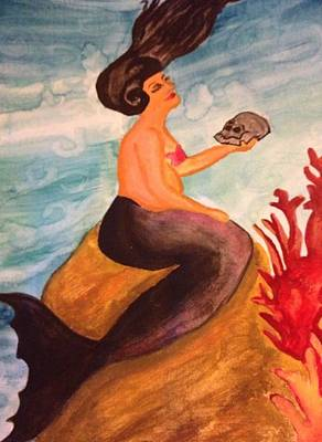 Painting - Mermaid With Skull by Oasis Tone