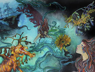 Deepsea Painting - Mermaids And Sea Dragons  by Brittany Sibert