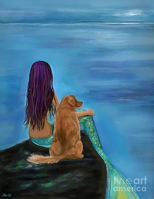 Painting - Mermaids Best Buddy by Leslie Allen