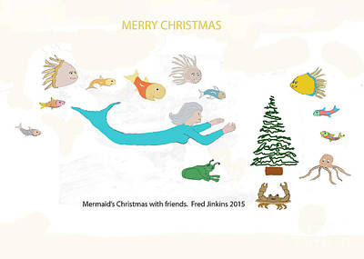 Mermaid's Christmas With Friends Original by Fred Jinkins
