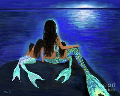 Painting - Mermaids Fun Bunch by Leslie Allen