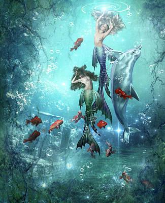 Digital Art - Mermaids by Karin Claesson