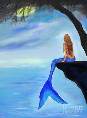Painting - Mermaids Lovely Oasis by Leslie Allen