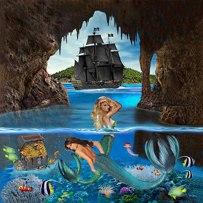 Digital Art - Mermaid's Pirate Cave by Glenn Holbrook