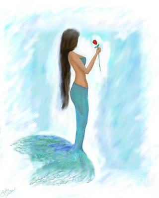 Painting - Mermaids Red Rose by Leslie Allen
