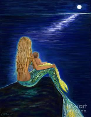 Painting - Mermaids Sweet Babies Moon by Leslie Allen