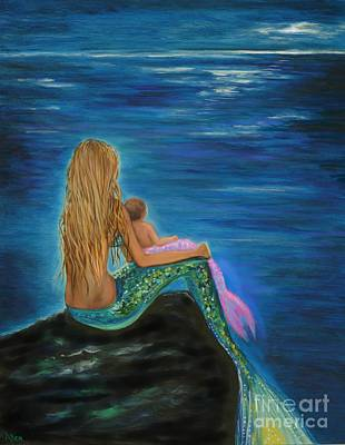 Painting - Mermaids Sweet Baby by Leslie Allen