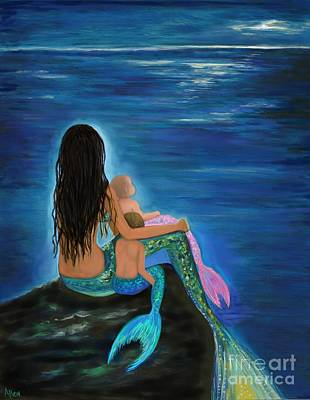 Painting - Mermaids Sweet Little Ones by Leslie Allen
