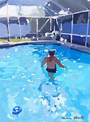 Painting - Merman In The Pool by Melissa Abbott