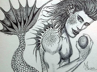 Drawing - Merman Ink by Absinthe Art By Michelle LeAnn Scott