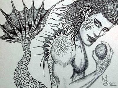 Drawing - Merman Ink by Absinthe Art By Michelle LeAnn Scott