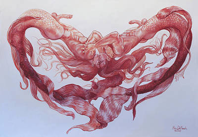 Painting - Merman Love by Marc DeBauch