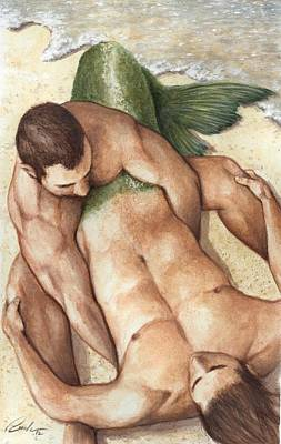 Fantasy Royalty-Free and Rights-Managed Images - Merman Rescue by Bruce Lennon
