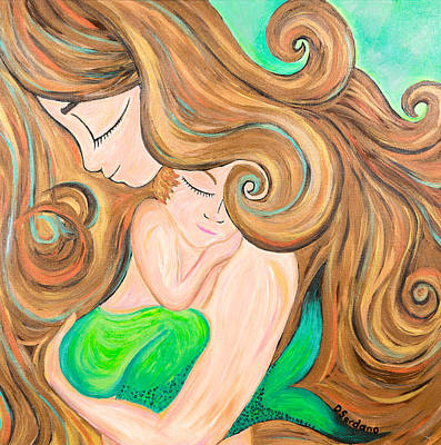Tenderness Painting - Mermommy by Dana Sardano