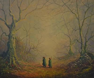 Tolkien Painting - Merry And Pippin Deeper Into Fangorn by Joe  Gilronan