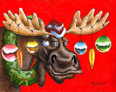 Painting - Merry Chris Moose by Richard De Wolfe