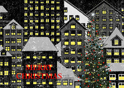 Berlin Night Painting - Merry Christmas 1 by Robert Todd