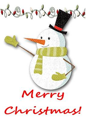 Photograph - Merry Christmas Big Snow Man On White by Joseph C Hinson Photography