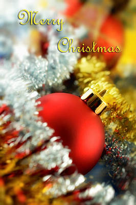 Photograph - Merry Christmas Card With Red Bauble by Silvia Ganora