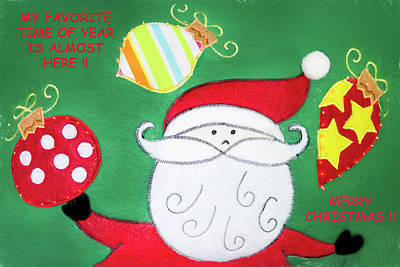 Photograph - Santa Merry Christmas Card With Text by Kay Brewer