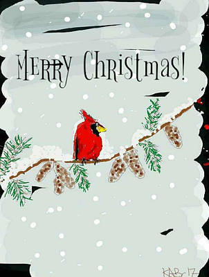Merry Christmas Cardinal Art Print