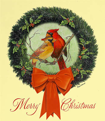 Painting - Merry Christmas Cardinals by Richard De Wolfe