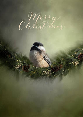 Photograph - Merry Christmas Chicadee 1 by Cathy Kovarik