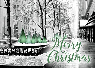 Merry Christmas Chicago Art Print